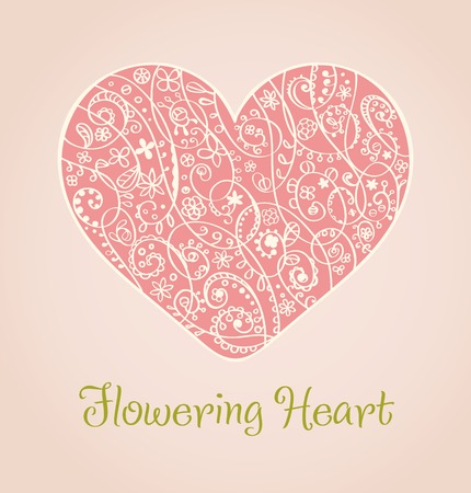 Romantic isolated ornamental heart illustration and place for your text. Template for design, decoration, scrapbooking Illustration