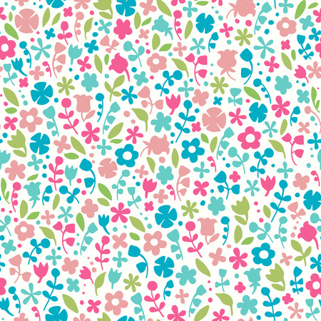 Seamless floral background. Colorful doodle endless pattern. Template for design fabric, wrapping paper, greeting cards, wear, accessories, bags