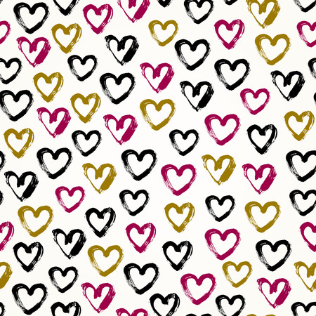 Seamless graphic hand drawn background. Endless brushed hearts pattern. Template for design and decoration Vector