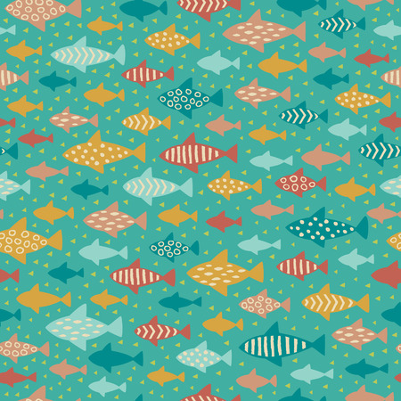 vacances: Seamless summer childish pattern. Endless fish background. Template for design and decoration