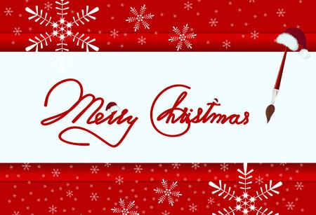 new year's cap: Brush painting Merry Christmas
