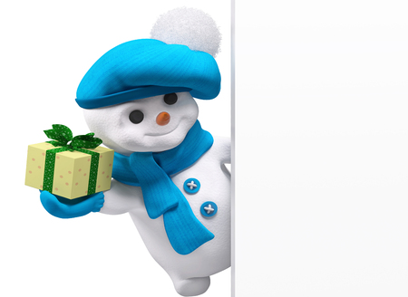winter hat: Smiling snowman with new year gift in hand and banner  isolated  3d rendering Stock Photo
