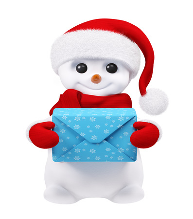 snowman isolated: Snowman isolated with blue gift in hands 3d rendering Stock Photo