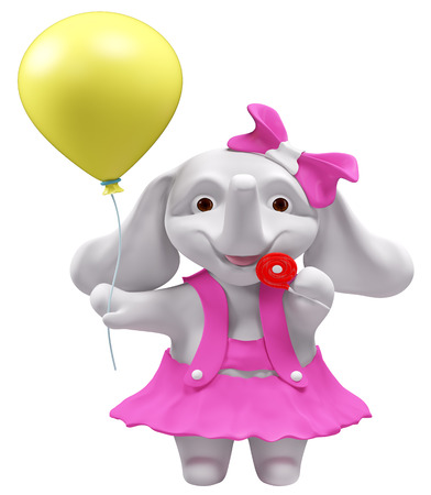 balloon girl: Baby elephant with lollipop and balloon isolated  3d rendering Stock Photo