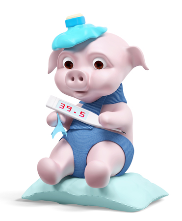 swine flu: Pig with thermometer isolated, swine flu concept 3d rendering Stock Photo