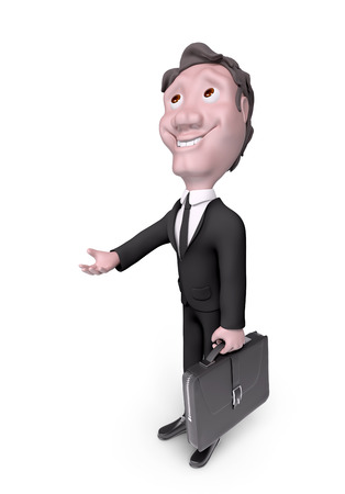 Character businessman asking for something, help isolated 3d rendering