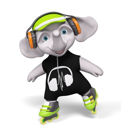Roller skating elephant cartoon with headphones isolated 3d render