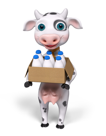 holds: Cartoon character cow, holds carton box and milk bottles in hands isolated, 3d rendering