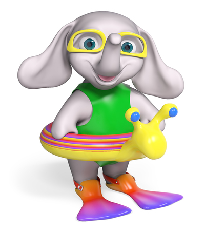 lifeline: Baby elephant cartoon with lifeline and flippers, isolated 3d rendering