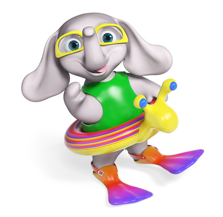 flippers: Baby elephant cartoon with lifeline and flippers, isolated 3d rendering