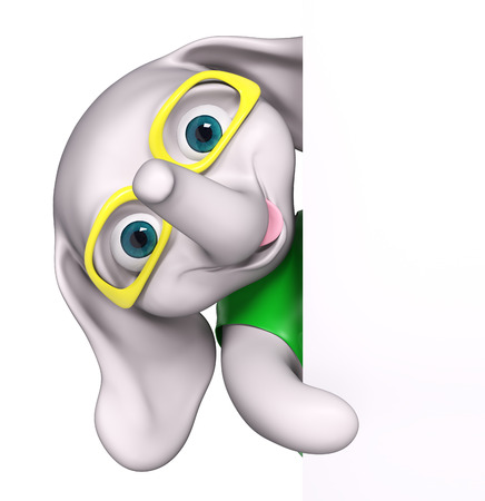 eyeglasses: Cartoon baby elephant wearing eyeglasses with poster isolated, 3d rendering