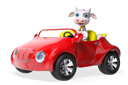 car isolated: Cow character driving car isolated 3d rendering Stock Photo