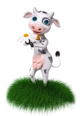 Cartoon character cow holds chamomile in hands isolated, 3d rendering