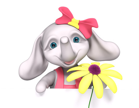 Elephant  baby girl cartoon with poster, holds chamomile in hands, isolated 3d rendering Stock Photo