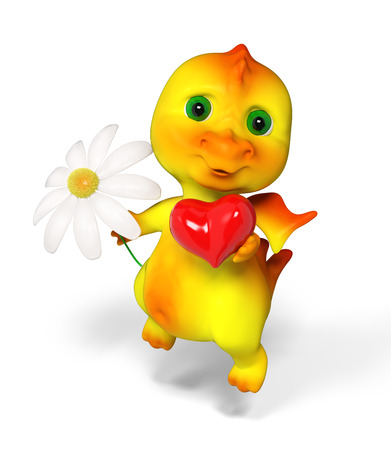 Funny little  dragon character holding red heart and flower  in hands 3d rendering