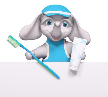 Cartoon Elefant Zeichen hinter Plakat mit Zahnbürste und Zahnpasta Hygiene-Konzept 3D-Rendering