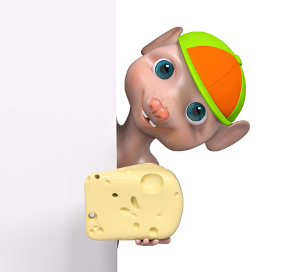 Cartoon character mouse holding cheese behind poster 3d rendering