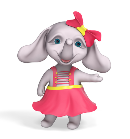 Funny elephant baby girl cartoon pointing and showing something isolated over white, 3d  rendering