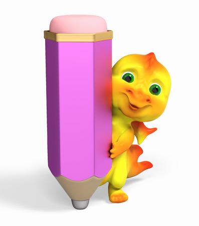 niño parado: Pequeño personaje divertido del dragón con la representación 3d aislada lápiz grande Foto de archivo