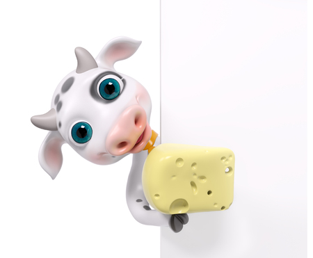 Funny cartoon character cow holding cheese , isolated 3d rendering