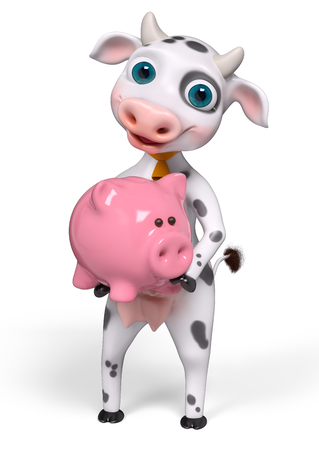 holds: Funny cartoon character cow, holds piggy bank in hands isolated, 3d rendering