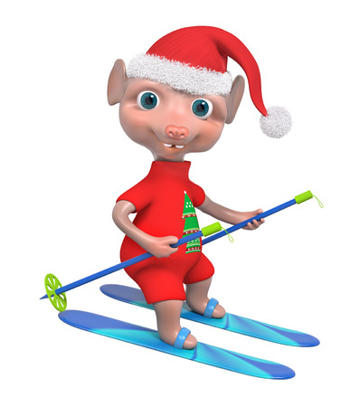 Adorable mouse boy skier isolated 3d rendering