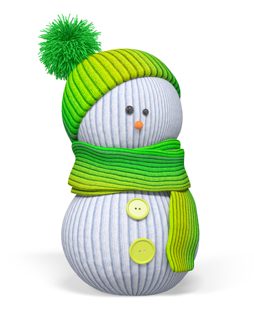 Christmas knitted snowman craft with green hat and scarf isolated 3d rendering Stock Photo