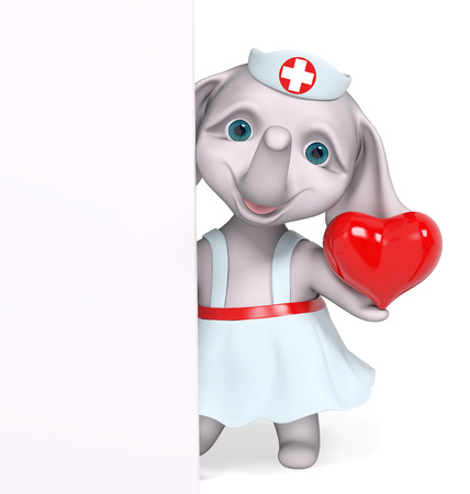 nurse cap: Nurse elephant holding red heart character isolated 3d rendering Stock Photo