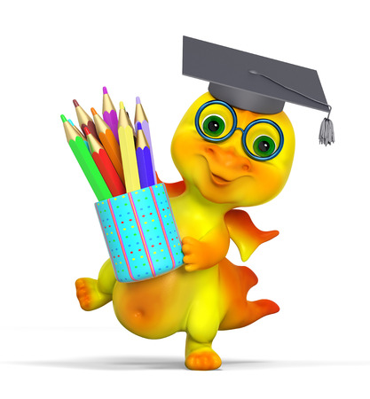Funny small dragon character graduation cap diploma and pencils isolated 3d rendering Stock Photo