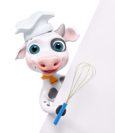 Cartoon cook cow with poster and whisk isolated, 3d rendering Stock Photo