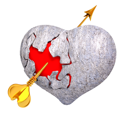 Broken stone heart with red inside it, and Cupids arrow, isolated 3d rendering Stock Photo