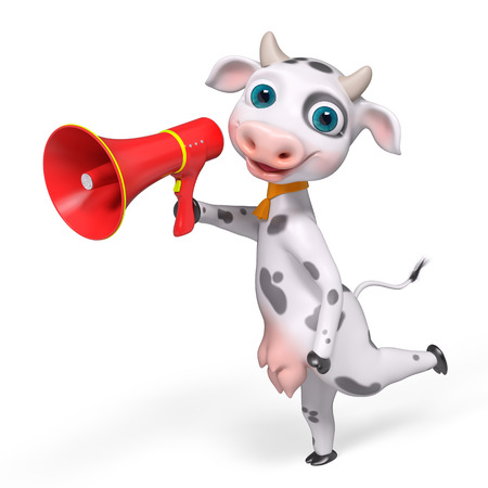 expostulate: Cartoon character cow holding megaphone, isolated 3d rendering