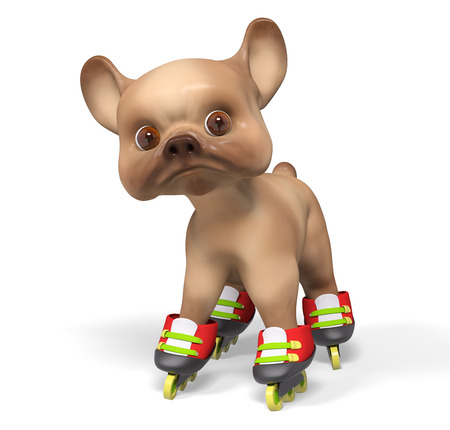 rollerblade: Brown puppy dog, isolated character 3d rendering