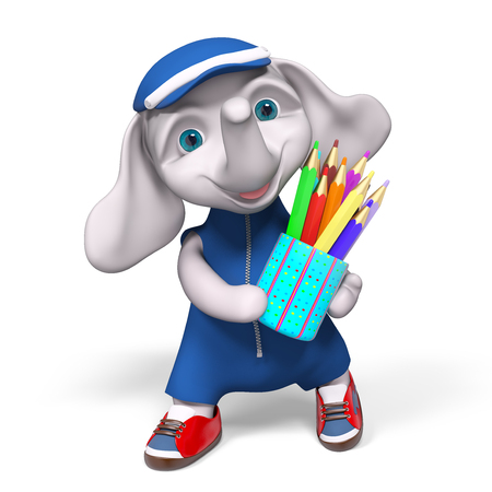 Funny small elephant character with pencils isolated 3d rendering