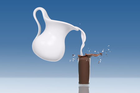 decanter: Splash milk with chocolate in glass, isolated 3d rendering