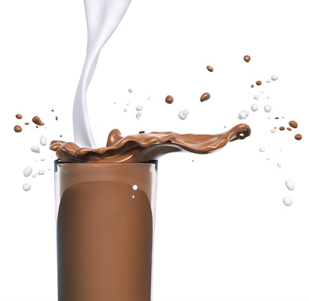 Chocolate splash in glass and milk, food and drink illustration,abstract swirl background, isolated 3d rendering