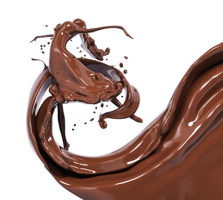 Splash chocolade geïsoleerd 3D-rendering
