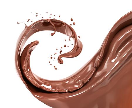 Splash chocolate isolated 3d rendering Foto de archivo