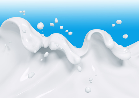 Splash leche aislados 3d prestación Foto de archivo - 88806686
