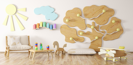 Interior of children room with armchair and playground 3d rendering