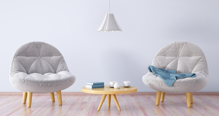 Living room with two armchairs, coffee table and lamp, 3d rendering 版權商用圖片