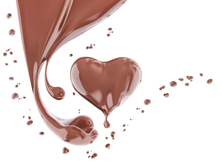 Splash chocolate abstract background, chocolate heart isolated 3d rendering Foto de archivo - 103385825