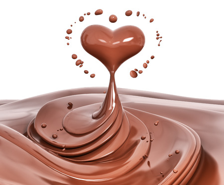 Splash chocolate abstract background, chocolate heart isolated 3d rendering Foto de archivo - 105300995