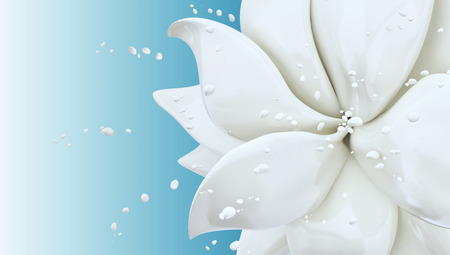 Splash milk and flower abstract background isolated 3d rendering Foto de archivo - 105300997