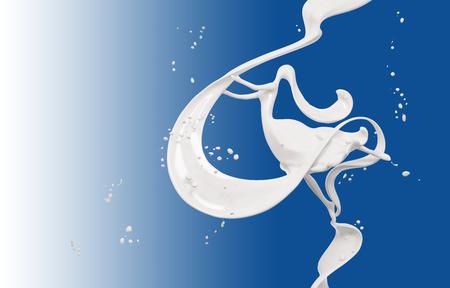 splash milk and girl isolated on blue background 3d rendering Foto de archivo - 107604435