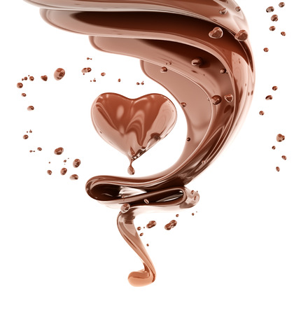 Splash chocolate abstract background, chocolate heart isolated 3d rendering Foto de archivo - 108766386