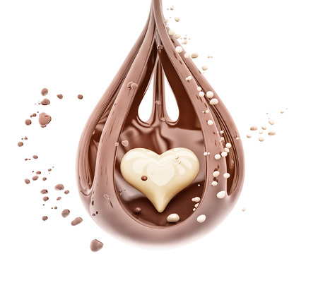Splashing chocolate heart abstract background, isolated 3d rendering Foto de archivo - 109853512