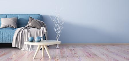 Interior design of modern living room with sofa, coffee table 3d rendering Foto de archivo - 115917376