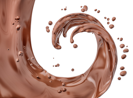 Splash chocolate isolated abstract background 3d rendering Foto de archivo - 115917381