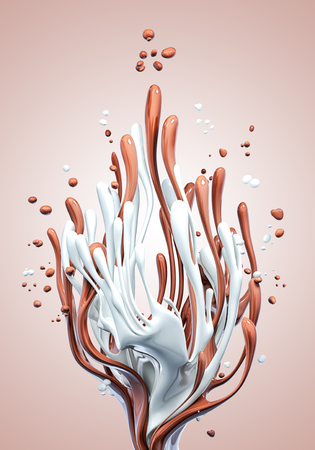 Splash of hot chocolate and milk abstract background, isolated 3d rendering Foto de archivo - 115917400